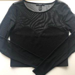 Black Mesh Crop Top!
